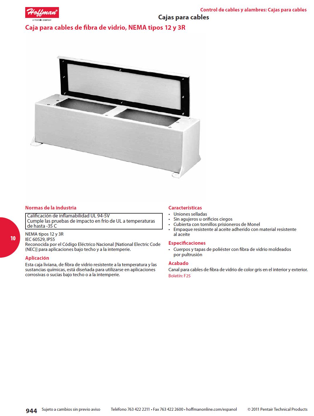 Caja para cables de fibra de vidrio nema tipos 12 y 3r cajas para cables - Caja para ocultar cables ...