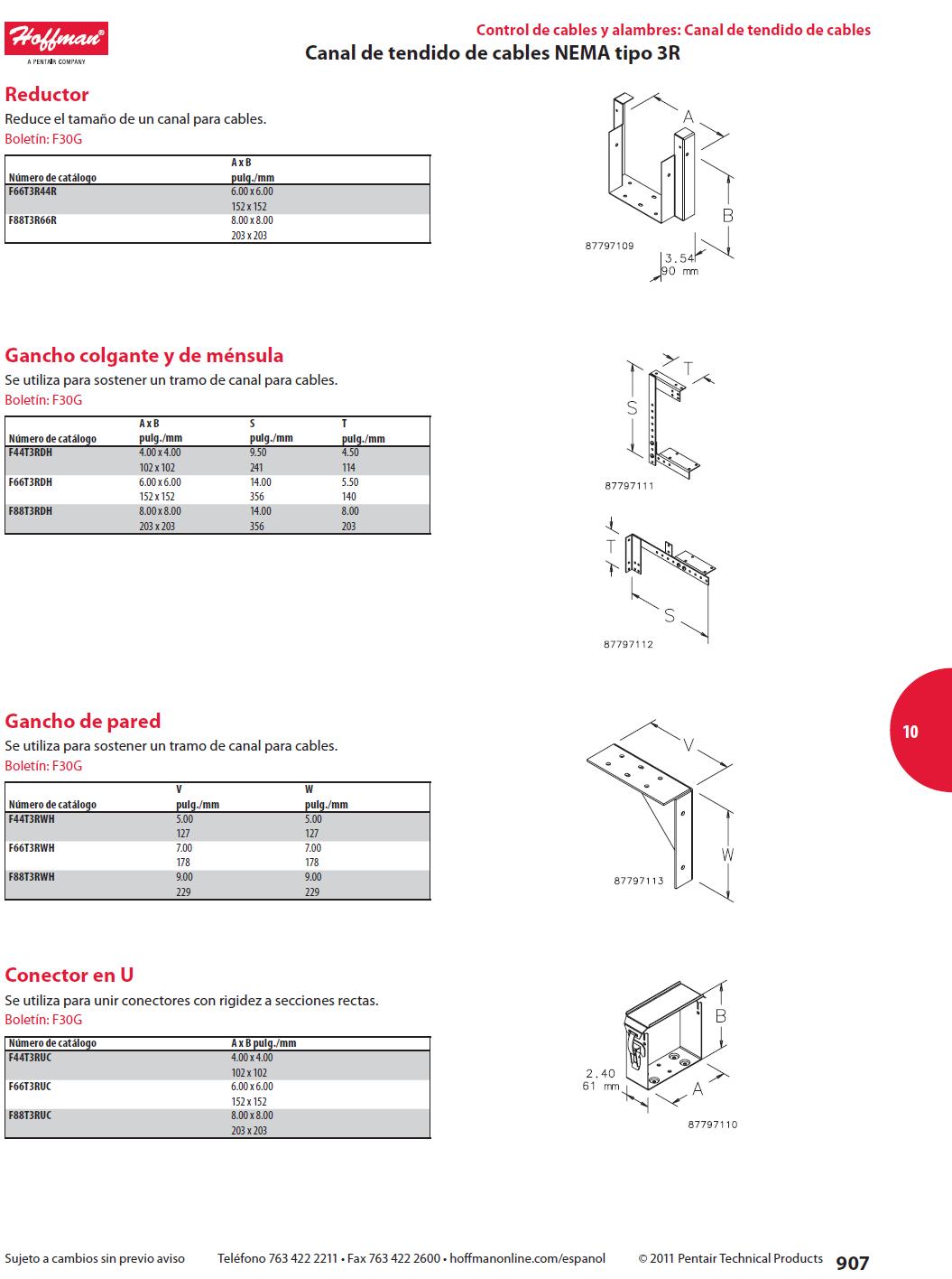 Gancho de pared canal de tendido de cables nema tipo 3r for Gancho adhesivo pared